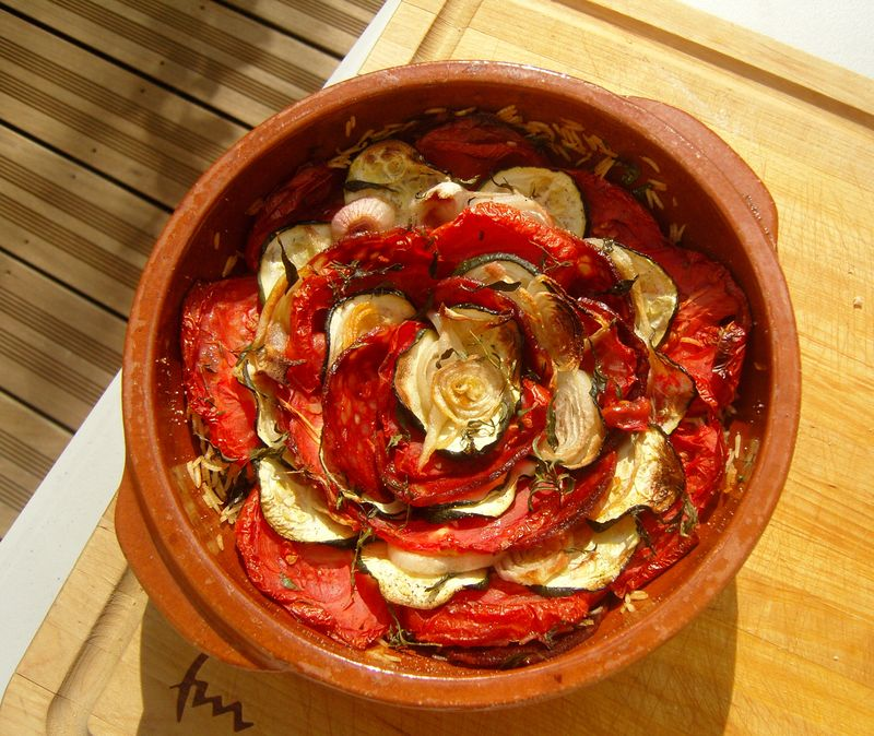 Tian tomates courgettes chorizo