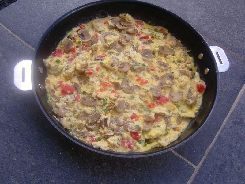 Omelette Ricotta Chmapignons Herbes du Jardin