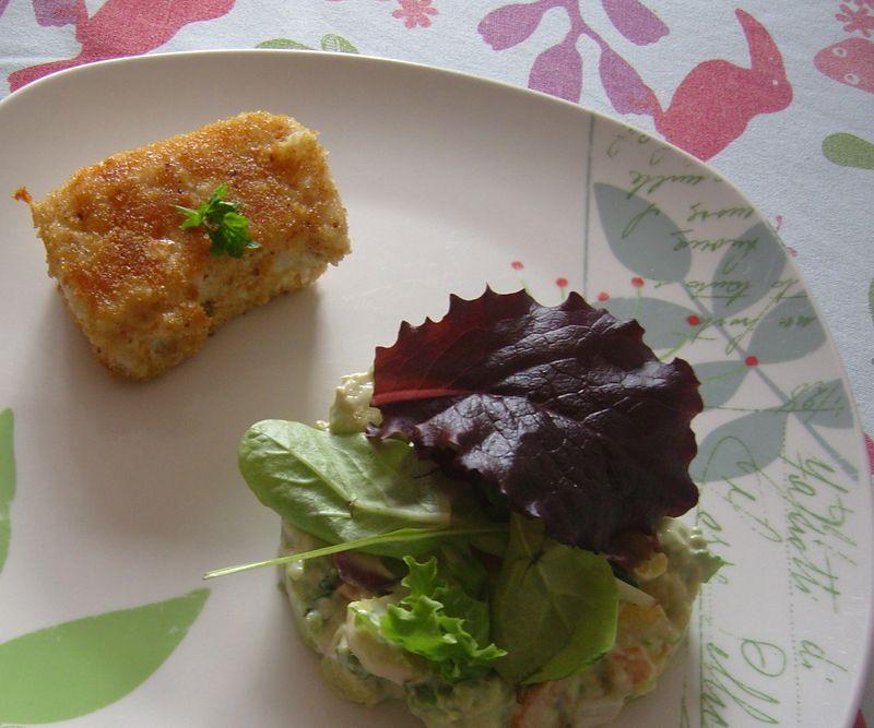 Tartare de légumes  avec du lieu pané