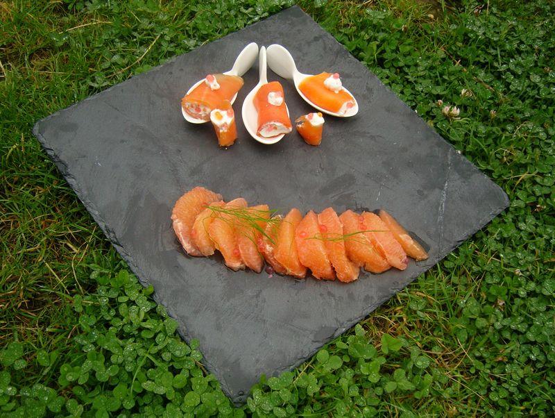 Rouleaux de saumon au pamplemousse vue d'ensemble