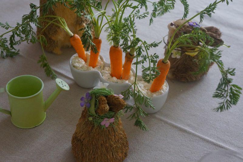 Carottes sur lit de Cottage Cheese ou Décoration Table de Pâques V2