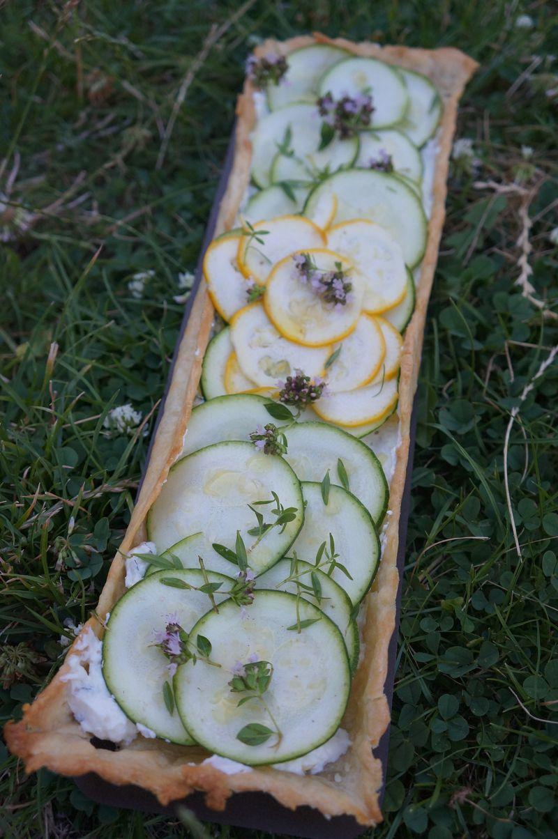 Tarte fine aux Courgettes brebis frais et origan et thym V2