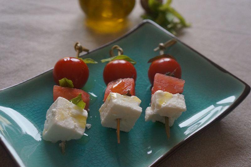 Brochettes Apéritives fêta Menthe pasteque tomates