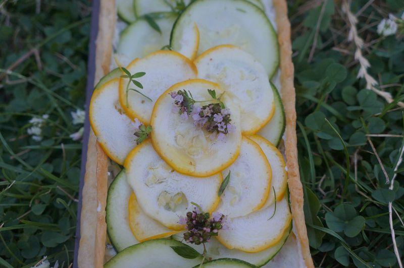 Tarte fine aux Courgettes brebis frais et origan et thym