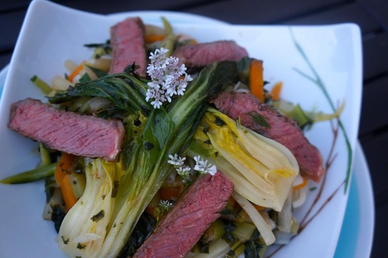 Filets d'Angus Tataki et Wok de Légumes Sautés inspiration Françoise Mutel